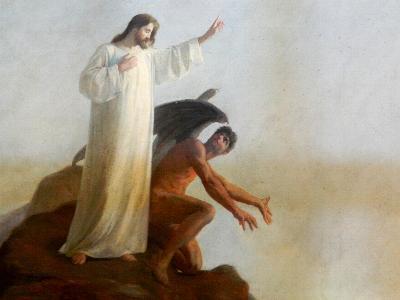Gemälde zeigt, wie Jesus vom Teufel versucht wird