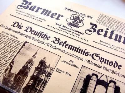 historischer Zeitungsauschnitt zur Barmer Bekenntnissynode von 1934