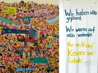 Graffiti und Spruchband aus der Zeit der Wende 1989