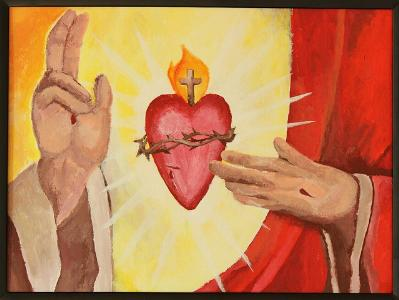 Christus-Torso mit Herzmotiv auf der Brust