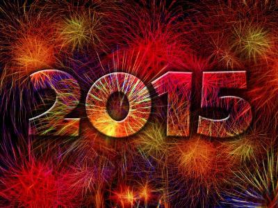 die Jahreszahl 2015 vor einem großen Feuerwerk