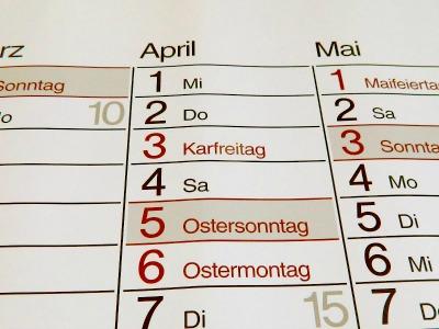 Wandkalender April 2015 mit Osterfeiertagen