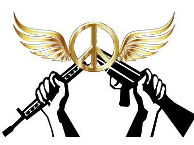 die Grafik zeigt das Peace-Zeichen und zwei Hände, die eine Waffe zerbrechen