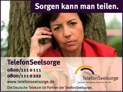 Ein Plakat der Telefonseelsorge lädt ein: Sorgen kann man teilen!