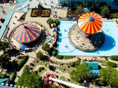 ein Freizeitpark mit Karussell von oben betrachtet