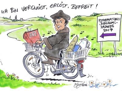 Cartoon mit Martin Luther auf einem Fahrrad