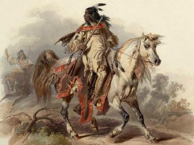 Zeichnung eines Indianers zu Pferde