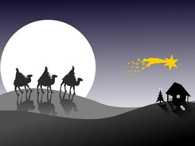 Zeichnung: Krippe mit Stern und den Heiligen Drei Königen