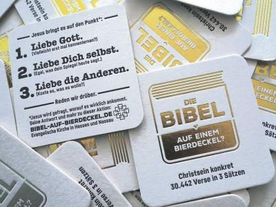 Bierdeckel mit den drei wichtigsten christlichen Geboten