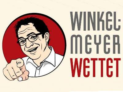 Comic-Gesicht und Spruch 'Winkelmeyer wettet'