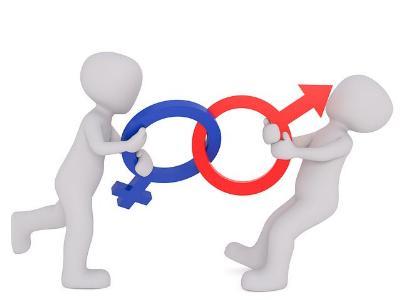 Figuren ringen mit den biologischen Symbolen für 'männlich' und 'weiblich'