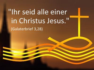 Ökumene-Symbol mit Bibelspruch