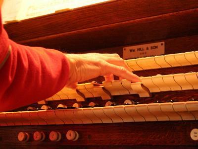 eine Hand, die auf einem Orgel-Manual spielt