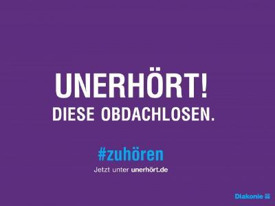 Plakat der Diakonie-Kampagne 'UNERHÖRT!'