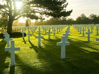 Hunderte weiße Kreuze auf einem Soldatenfriedhof
