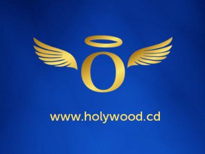 goldener Schriftzug 'Holywood' aus dunkelblauem Grund