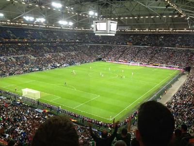 Blick auf den Rasen der Veltins-Arena auf Schalke