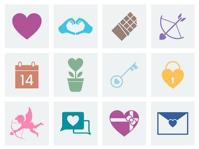 Herzen, Blumen und andere Symbole für den Valentinstag