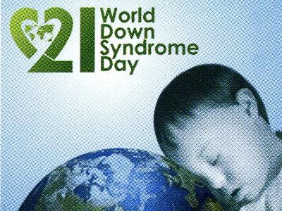 rumänische Briefmarke zum Welt-Down-Syndrom-Tag am 21. März