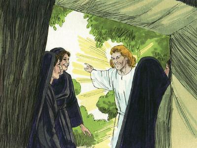 Comiczeichnung Jesus mit drei Frauen