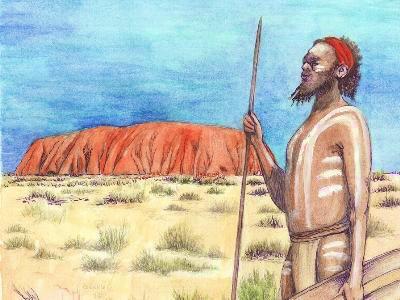 Zeichnung australischer Ureinwohner und Berg Uluru