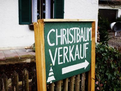 Schild mit Aufschrift Christbaumverkauf