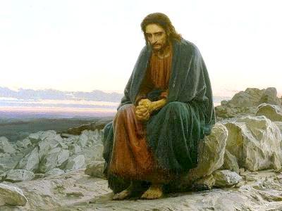 Gemälde zeigt einen erschöpften Jesus in der Wüste