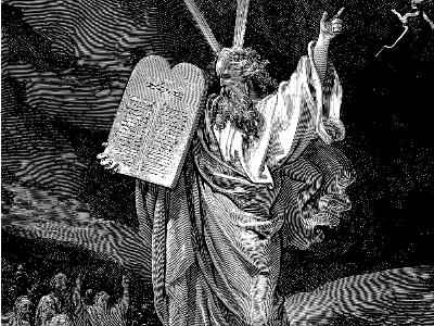 Kupferstich Mose empfängt die 10 Gebote