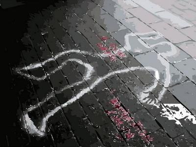 Umrisse eines Opfers am Tatort