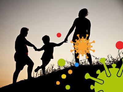Vater, Mutter und Kind vom Corona-Virus umgeben